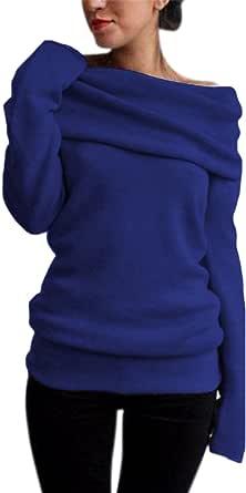 Style Dome Donna Camicette Maglie Manica Lunga Eleganti Maglieria Maglioni Tinta Unita Maglietta Moda Casual Chic Tops Senza Spalline Sexy Autunno Invernali