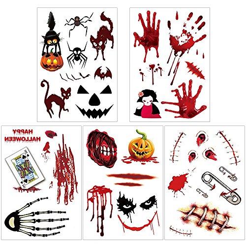 WarmoorHalloween Zombie Narben, Vampir Tattoo, temporäre Tattoos Non Toxic/Tätowierungen,wasserdicht Haut Tattoos , Blutigen Narben Klebe Kostüm für Halloween Party , Cosplay Aufkleber 5 pcs