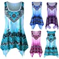MOIKA Damen Strandtop, New V-Ausschnitt Oberteil Plus Size Strandtop Weste Drucken Longbluse Shirt Tunika-Bluse