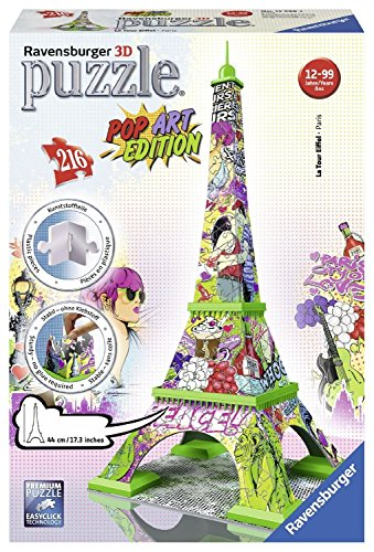 Ravensburger - 12598 - Puzzle 3D Tour Eiffel Pop Art - 216 Pièces