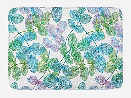 Bronze Ivy Leaf (CHKWYN Floral Bath Mat, Flowers Leaves Ivy Vein Like Rainbow Ombre Colored Art Print, Plush Bathroom Decor Mat with Non Slip Backing, Pale Blue Fern Green Purple White,15.7X23.6 inch)