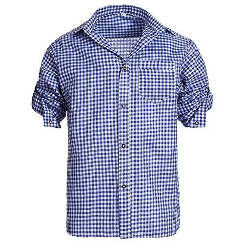 Herren Set Lederhose Schwarz und Trachtenhemd Blau Weiß Kariert Gr. Hose 58 Hemd XL - 5
