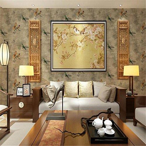 GUOW Carta da parati stereo 3D Carta da parati classica cinese Sfondo carta da parati TV Sfondo modello impermeabile Uccello , brown1
