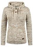 DESIRES Philaria Damen Winter Strickpullover Troyer Grobstrick Pullover mit Kapuze, Größe:XL, Farbe:Dune (5409)