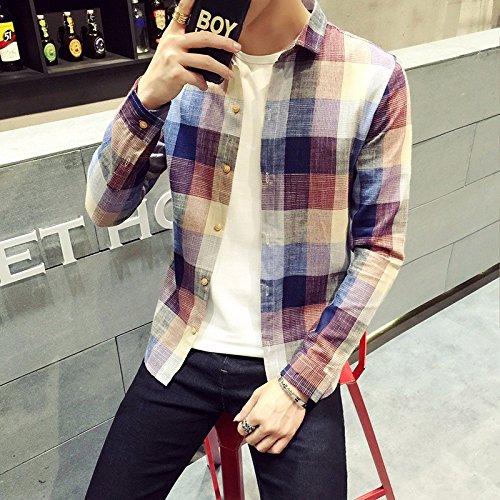 La Moda Con Camicia A Maniche Lunghe _ Slim Tipo Occasionale Camicia Scozzese red