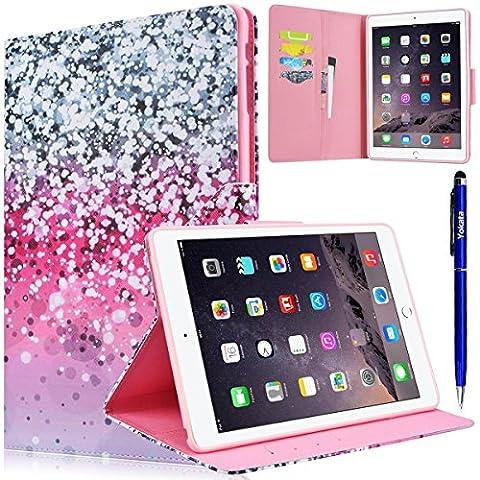 iPad 6 / iPad Air 2 Hülle, Yokata Flip PU Lederhülle mit Karten Slot Magnetverschluß Handyhülle Standfunction Case Tasche Schutzhülle Etui Brieftasche Cover (Stern) + 1x Kapazitive (Stern Klar Deckel)