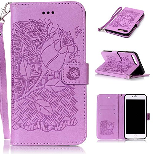 Price comparison product image iphone 7 PLUS Case, iphone 7 PLUS Cover, Cozy Hut PU Leather Wallet Case for iphone 7 Plus Flip Case Bookstyle Cover Roses Pattern Solid Color Folio Shell PU Cell Phone Holster with Hand Strap Stand Function Credit Card Slots Magnet Closure Anti-Drops Dustproof Protective Shell for iphone 7 Plus (5,5 Inch) - Purple Rose
