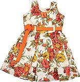 NAICHI Girls' Dress (NLCD3DL16, Off- White and Orange , 3-4 Years)