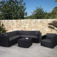 Garniture polyrotin ROM Basic, ensemble canapé fauteuil, set lounge ~ anthracite, coussin anthracite