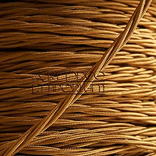 High Quality British Made Art Deco Emporium Brand Cloth Covered Braided Twisted Flex 3Core 3Amp in Antique Gold