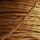 Art Deco Emporium - Cable flexible trenzado para iluminación (cubierto de tela, 0,5mm, 3 núcleos), color dorado antiguo