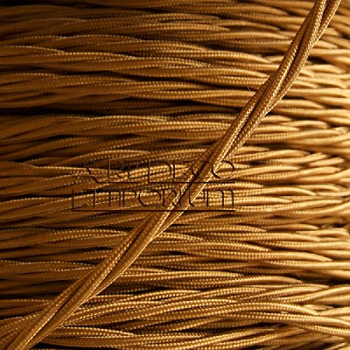 Preisvergleich Produktbild Fabric Covered Braided Twisted Lighting Wire Flex Cable 0.5mm 3xCore Antique Gold by Art Deco Emporium