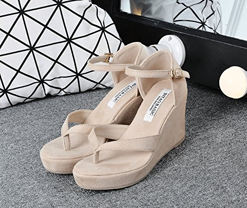 SHOESHAOGE Sandales Talon-Orteil Épais De Couleur Pin Fond Gâteau Avec Chaussures Boucle Couleur unie