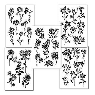 Blume Schablonen 5Stück für Wand Deko-Malerei Crafts Modell Tattoo Auto