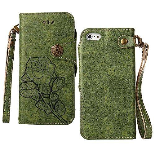 Custodia iPhone 5 / 5S / SE, COOSTOREEU Retro Embossed Roses Magnetic Slotted Wallet Case+ Cinghia di Polso Smontabile Progettazione per Apple iPhone 5 / 5S / SE, Blu Verde