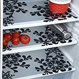E-Retailer Premium Quality Fridge Drawer Mats/Fridge Mats Pack of 3 Pcs 11X17 Inches(Black & White)