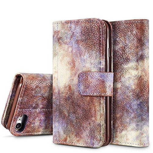GR Premium PU-Leder horizontale Flip Stand Wallet Case Cover mit Kartensteckplätzen für iPhone 7/8 ( Color : Yellow ) Violet