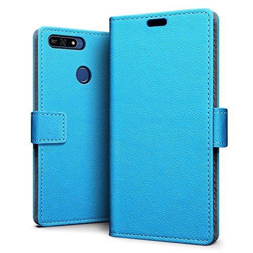 SLEO Huawei Honor 7A Hülle, PU Leder Case Tasche Schutzhülle Flip Case Wallet im Bookstyle für Huawei Honor 7A Cover - Blau
