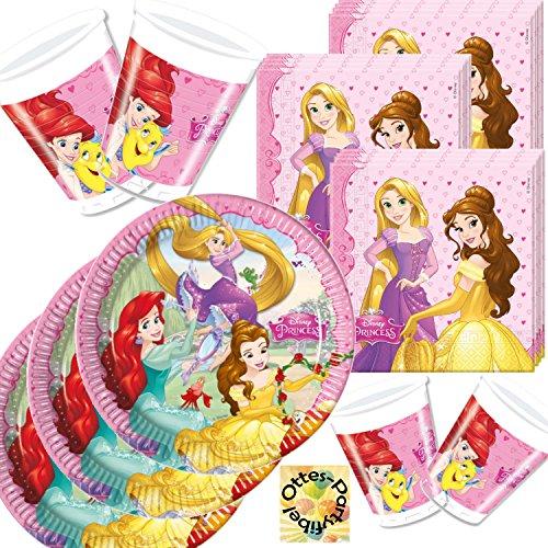 Diverse Partyset Princess Dreaming 36 Teile für 8 Kinder Teller Becher Servietten