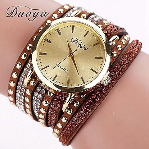 Nusey (TM) Duoya delle donne di marca 15 colori di stile di estate di lusso casuale Geneva Watch donne oro del braccialetto del vestito orologio quarzo