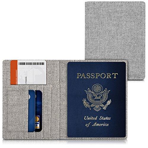 kwmobile Reisepass Hülle mit Kartenfächern - Stoff Ausweishülle Passhülle Kartenetui Tasche - Reisepasshülle in Hellgrau