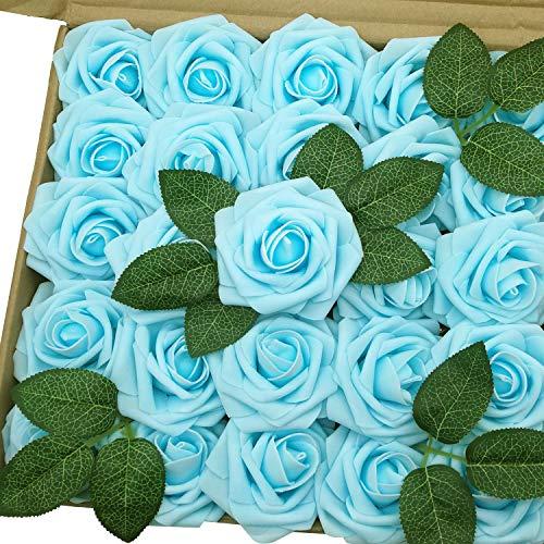 Jing-Rise Künstliche Blumen 50Echt Aussehende Fake Rosen mit Stiel für DIY Hochzeit Blumensträuße Aufsteller Party Baby Dusche Home Dekorationen Hellblau