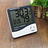 HPDeal Digital Hygrometer Thermometer Humidity Meter with clock Big LCD Display HTC-1