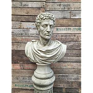61neK%2BJecYL. SS300  - Outdoor Garden Roman Statue Bust Frost proof Grey Figure Bust Roman Soldier