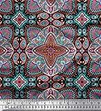 Soimoi Schwarz Satin Seide Stoff Mandala & Paisley ethnisch