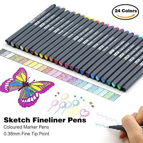 laconile Premium Sketch Fineliner Farbige Marker Stifte (Set von 24) 0,4mm feine Spitze Spitze,...