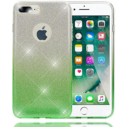 iPhone 8 Plus / 7 Plus Coque Silicone de NICA, Ultra-Fine Glitter Housse Protection Slim Case Paillettes Cover, Etui Strass Bumper Mince pour Telephone Portable Apple iP-7+ / 8+ - Argent / Gris Argent / Vert