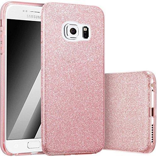 Bling Handy (FINOO | Samsung Galaxy S6 Rundum 3 in 1 Glitzer Bling Bling Handy-Hülle | Silikon Schutz-hülle + Glitzer + PP Hülle | Weicher TPU Bumper Case Cover | Pink)