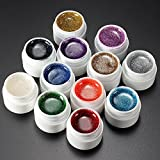 ChenXi Shop 12Farben Glitzer für Acrylnägel UV Gel-Nagellack-Set