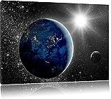 Erde mit Sonne im Weltall schwarz/weiß Format: 120x80 auf Leinwand, XXL riesige Bilder fertig gerahmt mit Keilrahmen, Kunstdruck auf Wandbild mit Rahmen, günstiger als Gemälde oder Ölbild, kein Poster oder Plakat