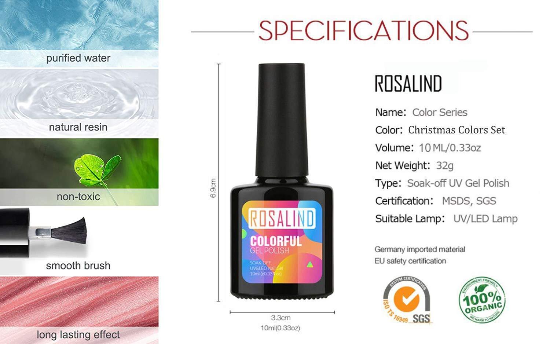 ROSALIND Base y top coat Esmaltes Semipermanentes de Uñas en Gel UV LED (Free 4 bottles Esmaltes de Uñas)