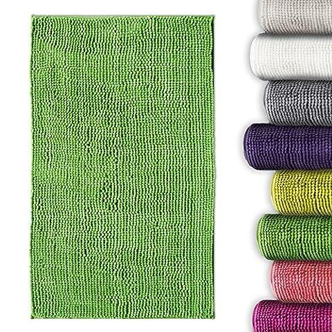 casa pura® Chenille Bath Mat | Thick Absorbent Bathroom & Shower Rug | Non Slip | Oeko-Tex 100 Certified | Green, 8 Colours Available,