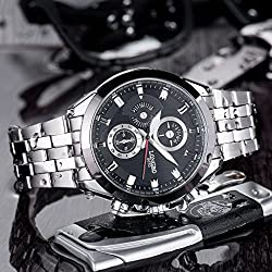 LONGBO Mens Unique Casual Business Wrist Watches Fashion Black Dial Silver Stainless Steel Band Sport Miliatry Analog Quartz Watch For Men
