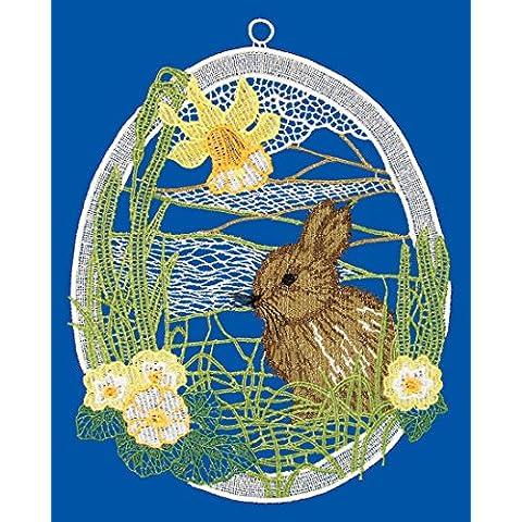 Spitze Plauner 19 x 24 cm de encaje de Navidad de conejo de Pascua Window picture/cairel