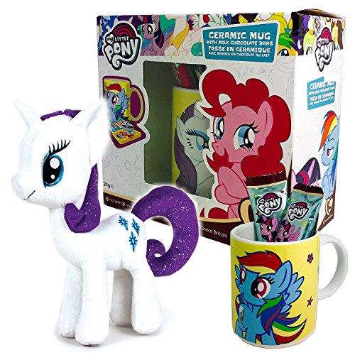 My Little Pony Geschenkset mit Kakaotasse Schokolade und Plüschtier - Mein Kleines Pony Set mit Tasse und Stofftier (Einhorn - Gefüllt Pony-spielzeug My Little