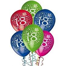Globos de Cumpleaños, celebra una divertida fiesta para los 18 años - Adorno y decoración para fiestas - Paquete de 25 unidades