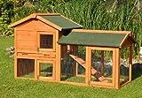 nanook Kaninchenstall / Hasenstall / Meerschweinchenstall Lissy - mit Anbau und Rampe - naturfarben - 147 x 64 x 85 cm