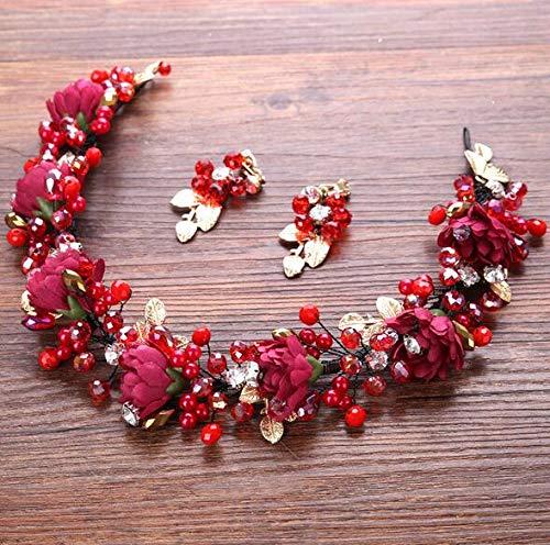 EQYYDD Exquisite Bunte Blume Harz Perlen Stirnband Hochzeit Haar Braut Accessoires handgemachte Vintage Frauen Kopfschmuck Haarschmuck rot mit Ohrringen