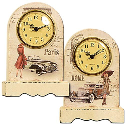 Carrick Design-Rom/Holz/Glas Arch Uhr, Mehrfarbig, 13x 7x 20 -