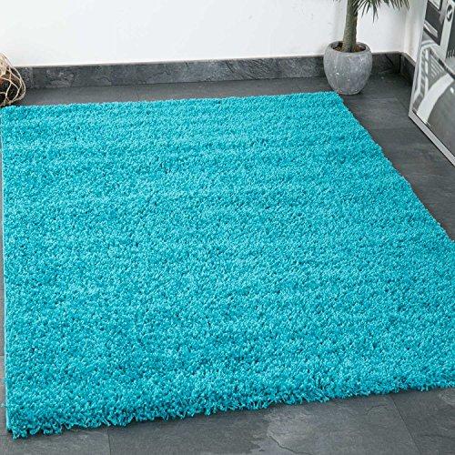 VIMODA Prime Shaggy Teppich Farbe Türkis Hochflor Langflor Teppiche Modern für Wohnzimmer Schlafzimmer, Maße:Ø 80 cm Rund