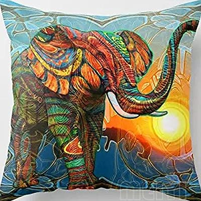 Cotton Velvet Colorful Elephant Design Pillow Case Cushion Cover Home Decoration produced by HTT - quick delivery from UK.