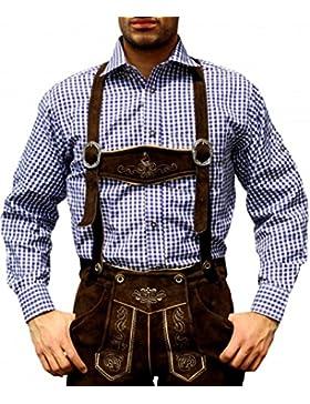 Trachtenhemd für Trachtenlederhosen Oktoberfest Trachtenmode Blau/karo 100% Baumwolle, Hemdgröße:3XL