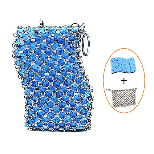 Cast Iron Cleaner, Vproof Stainless Steel Chainmail Scrubber with Wood Pulp Sponge for Skillet, Pot, Pan, Wok, BBQ, Better Grip Design, Oil Free Cookware Scraper for Home and Camping (Silver)