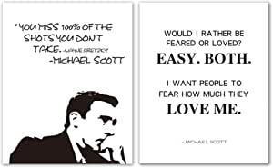 Brital Michael Scott Motivations Poster Mit Zitat Would I Rather Be Feared Or Loved