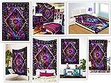 Future Handmade Twin Tapestries Galaxy Sun Moon Stars Tapestry Indian Handmade Tie Dye Tapestry Wall Hanging Beach Blanket Hippies Tapestries Yoga Mat Home Decorative 100% Cotton Bedspread (DESIGN 1)