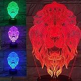 3D Der König der löwen Optische Illusions-Lampen, Tolle 7 Farbwechsel Acryl berühren Tabelle Schreibtisch-Nachtlicht mit USB-Kabel für Kinder Schlafzimmer Geburtstagsgeschenke Geschenk